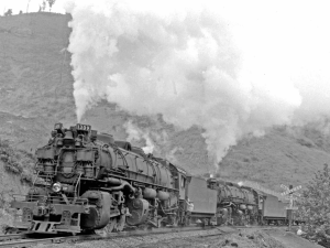 The B&O railroad back in the last days of steam. Engines like this were made specifically to haul cars up grades.