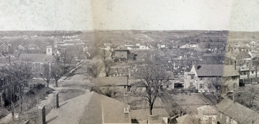 This section of the much-discussed 1888 St George Church panorama of Fredericksburg shows the roof and chimneys of the Farmers' Bank on the left foreground. Note the use of the lots that are now mostly tarmac deserts. This section of the panorama came from Fredericksburg Remembered. http://cdn.loc.gov/service/pnp/cph/3c00000/3c00000/3c00600/3c00623v.jpg